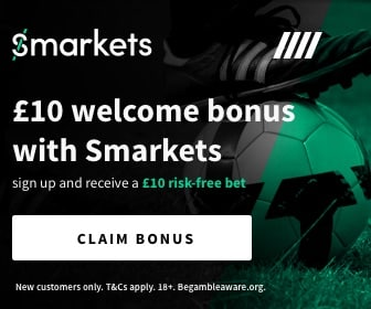Banner showing the £10 welcome bonus offer from Smarkets