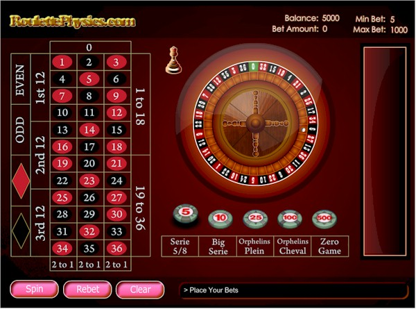 Free RNG roulette game by roulettephysics.com.